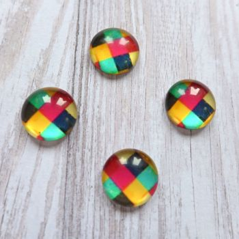 Glass Dome Checked Cabochons (CA3034)