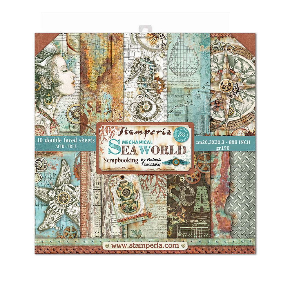 Stamperia Sea World 8x8 Inch Paper Pack (SBBS13)
