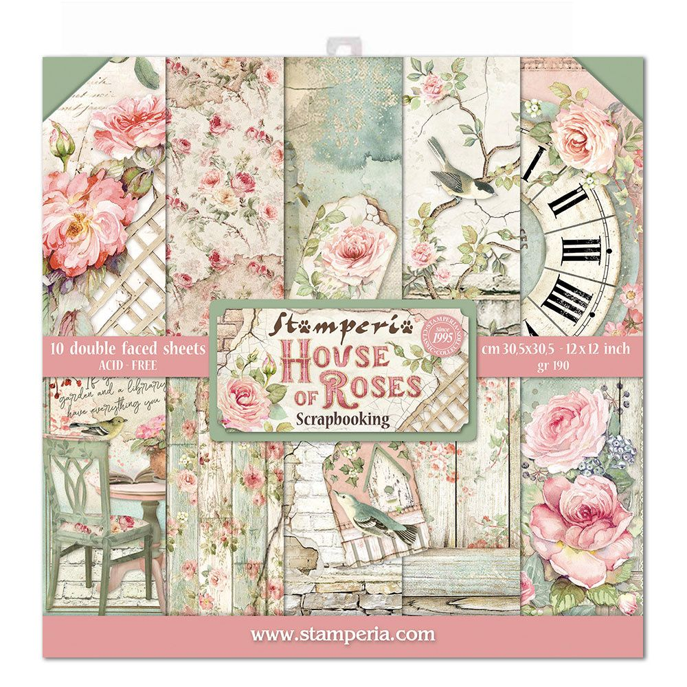Stamperia House of Roses 12x12 Inch Paper Pack (SBBL66)