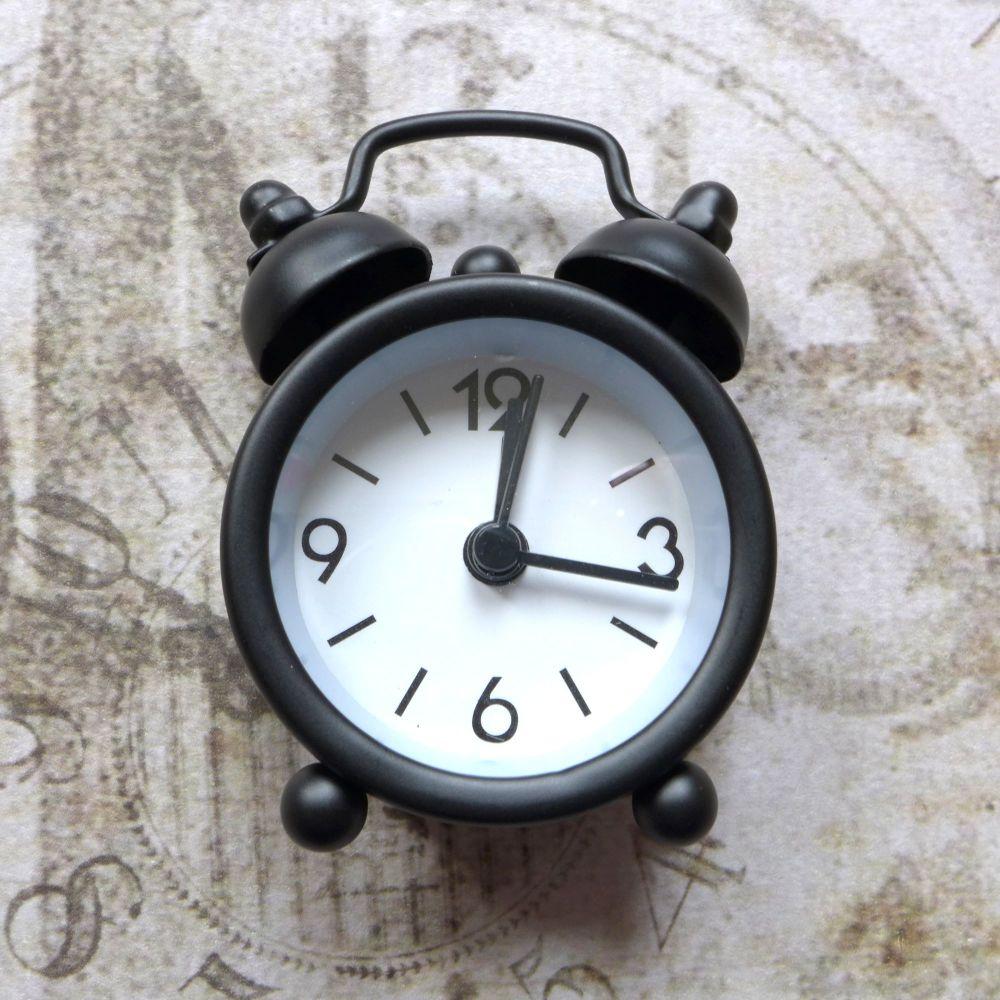 Mini Working Alarm Clock - Black (E5015)