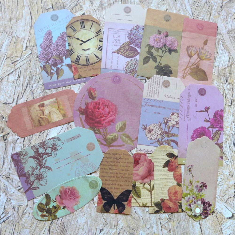 Paper Tags - Vintage Flowers  (PA021)