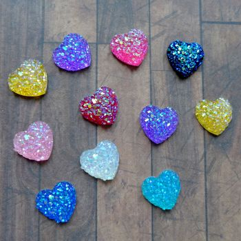 Bling - Heart Sparkles Mix Colour Cabochon (CA3006)
