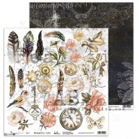 """Dreamland"" Scrapbooking Paper 12 x 12""- Flowerful Life-3/4"