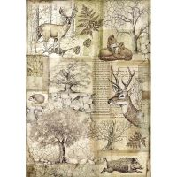 Stamperia Forest Rice Paper A4 Deer and Wild Boar (DFSA4426)