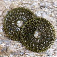 Large Bronze Filigree Lace Circles (C084)