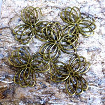 Bronze Metal Filigree Flowers (C116)