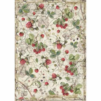 Stamperia Forest Rice Paper A4 Raspberry (DFSA4429)