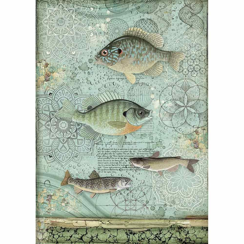 Stamperia Forest Rice Paper A4 Fish (DFSA4428)