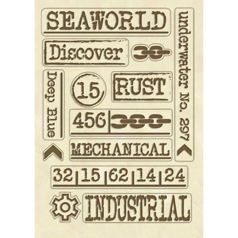 Stamperia Sea World - Wooden Shapes A5 - Writings (KLSP072)