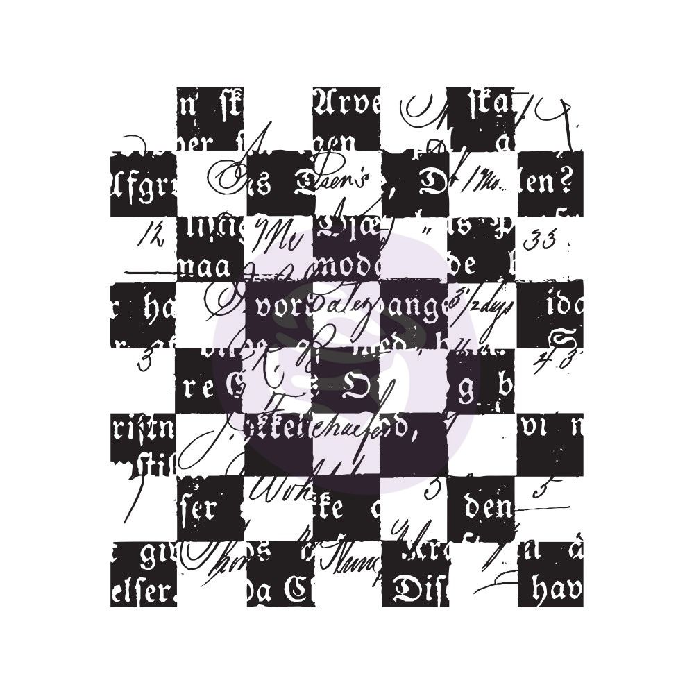 Prima Finnabair Clear Cling Stamps - Checkered Texts