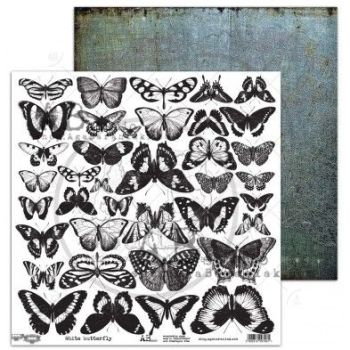 "Elements - Scrapbooking Paper 12 x 12"" - White Butterfly"