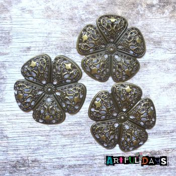 5 Petal Bronze Filigree Flowers (C054)