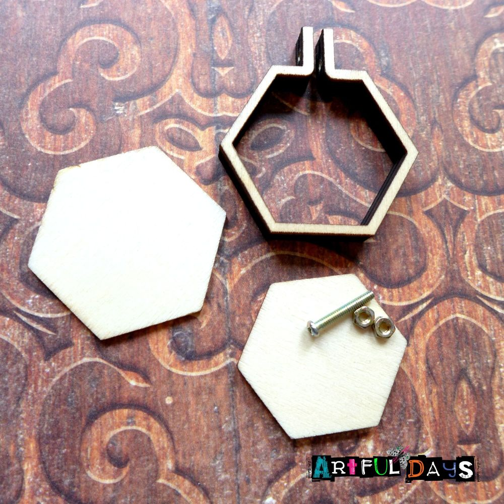 Mini Wooden Embroidery Frame - Hexagon(E5021)