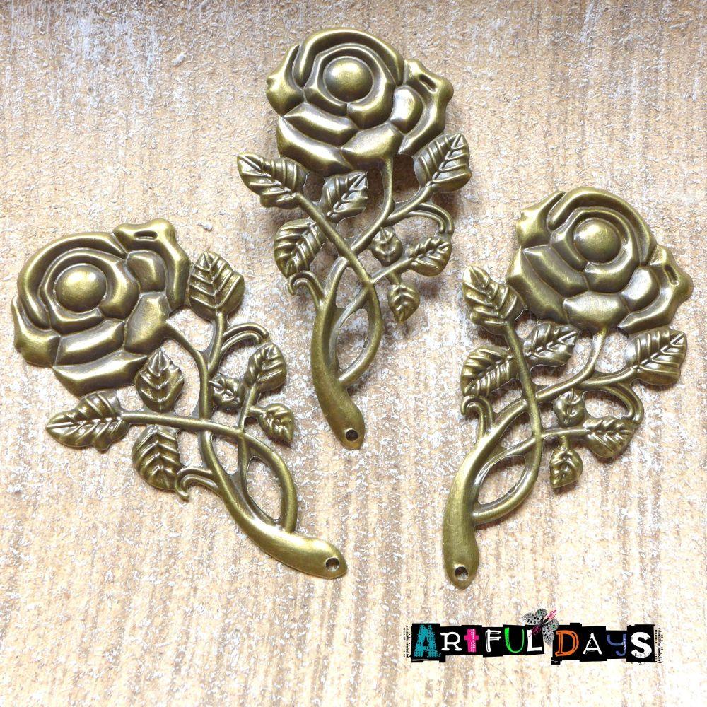 6 Petal Bronze Metal Flower (C112)