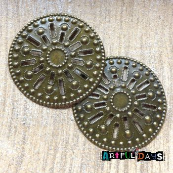 Large Bronze Embossed Filigree Circles (C180)