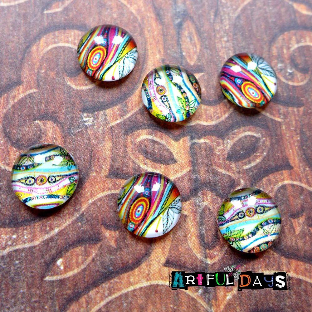 Artful Coloured Glass Dome Cabochons (CA3037)
