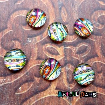 Artful Coloured Glass Dome Cabochons (CA3037)
