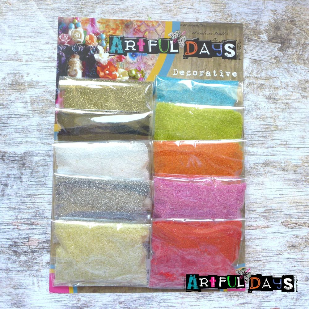Set of 10,  30g Coloured Sands