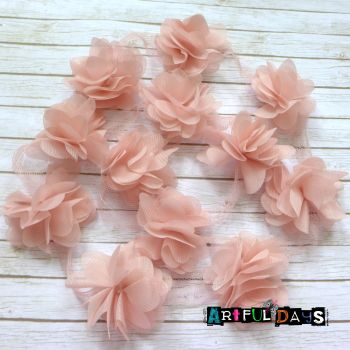 Fabric Flower Trim in Soft Blush 1m