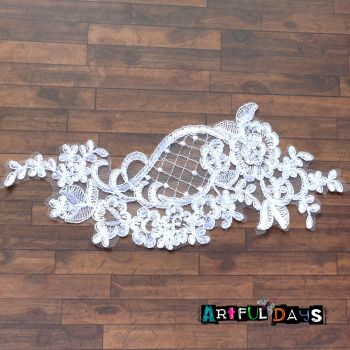 Lace Applique Floral Motif - White 02