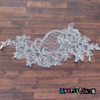 Lace Applique Floral Motif - Light Grey 04