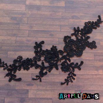 Lace Applique Floral Motif - Black 05