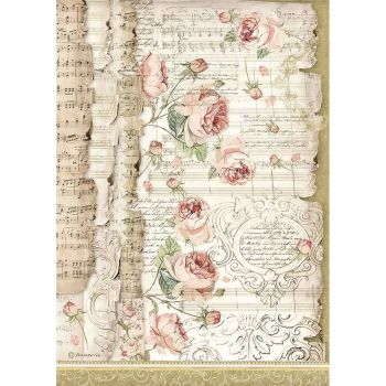 Stamperia Princess Rice Paper A4 Roses and Music (DFSA4486)