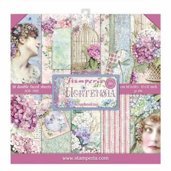 "Stamperia Hortensia 12 x 12"" Double sided Scrapbooking Papers SBBL72)"