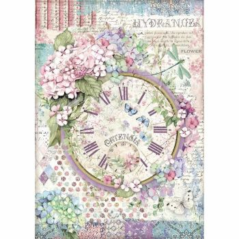 Stamperia Hortensia A4  Rice Paper Clock (DFSA4468)