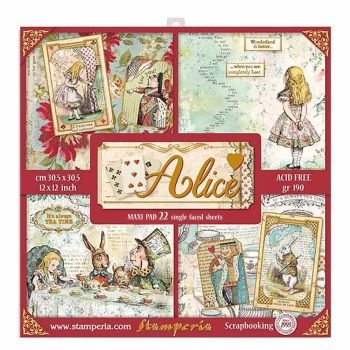 "Stamperia Alice Gold Maxi Pad 12 x 12"" Double sided Scrapbooking Papers (SBBXLB08G)"