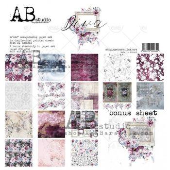 """Diva""- Scrapbooking Paper 12 x12"" + 1 Bonus Sheet Set"