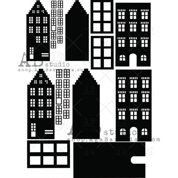 Mixed Media Thick Chipboard ID-204 Houses