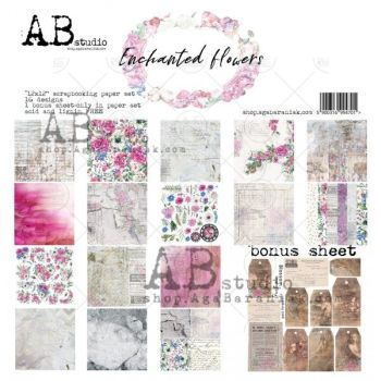 """Enchanted Flowers""- Scrapbooking Paper 12 x12"" + 1 Bonus Sheet Set"