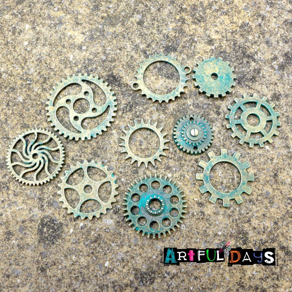 Steampunk Cogs & Gear Charm - Patina (C120)