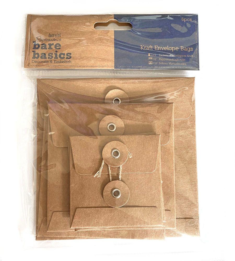 Papermania Bare Basics Kraft Envelope Bags Square Brown (6pcs) (PMA 174227
