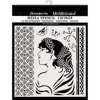 Stamperia Hortensia Thick Stencil Lady Side (KSTDQ40)