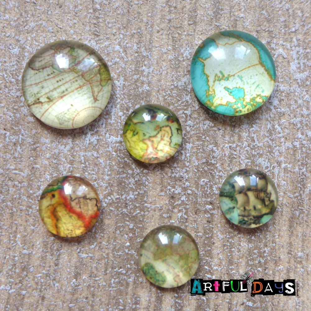 Glass Dome Travel Map Cabochons 2 Sizes (CA3016)