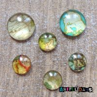 Glass Dome Cabochons - Travel Maps 2 Sizes (CA3016)