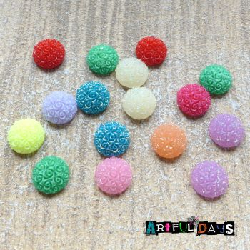Glittery Embossed  Round Cabochons (CA3003)