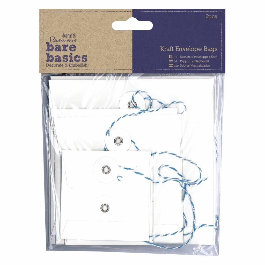 Papermania Bare Basics Kraft Envelope Bags Square White (6pcs) (PMA 174228)