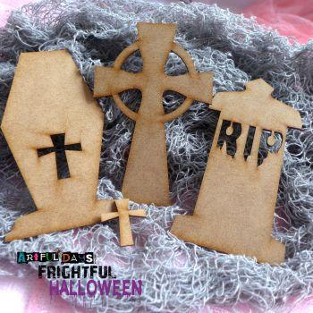Artful Days MDF Frightful Halloween - Tombstone Trio (ADM048)