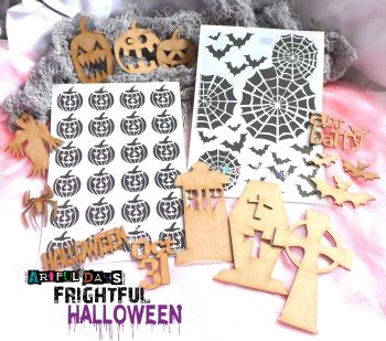 Artful Days Frightful Halloween MDF Stencil Collection *Saver Deal*