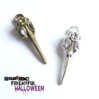 Bronze & Silver Bird Skull Charms