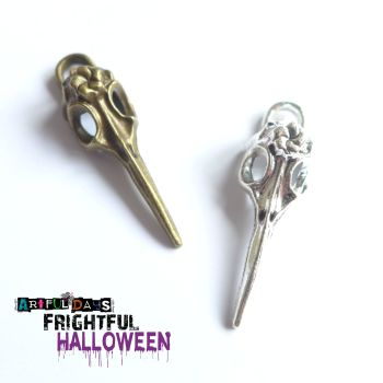 Bronze & Silver Bird Skull Charms