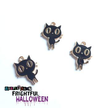Black Enamel Cat Trio