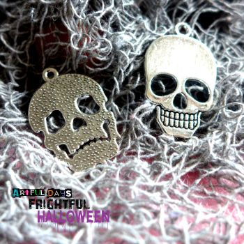 Set of 2 Silver Skull Charms