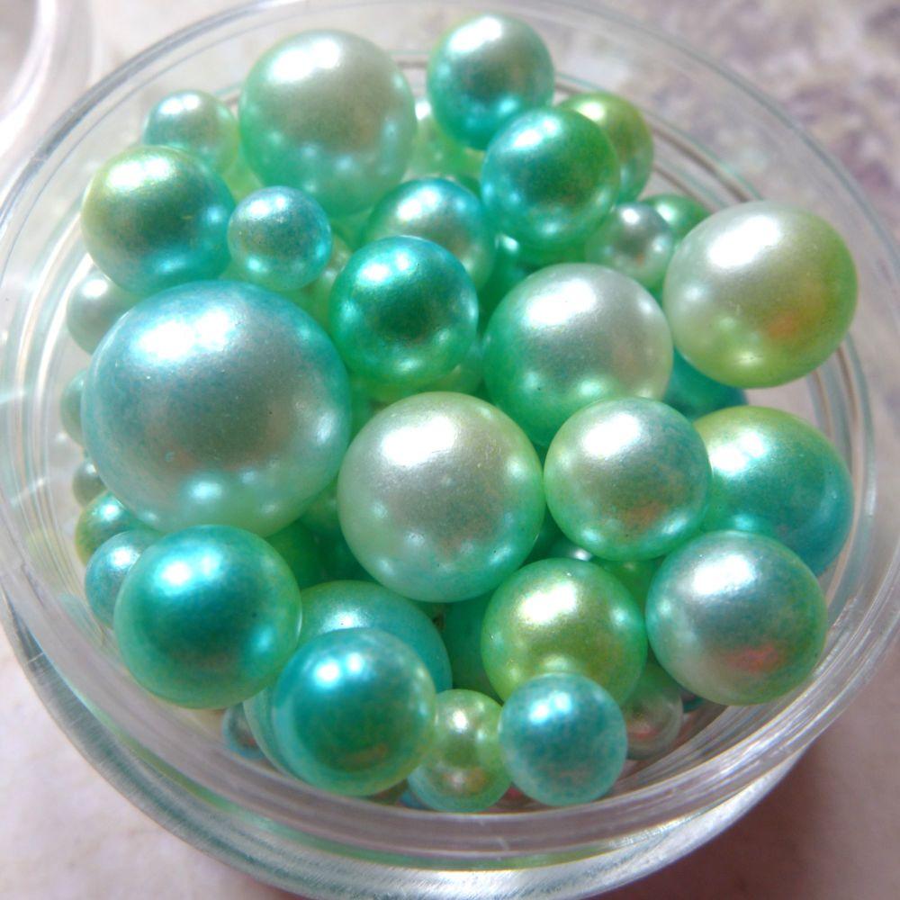 No Hole Mermaid Beads - Sea Greens