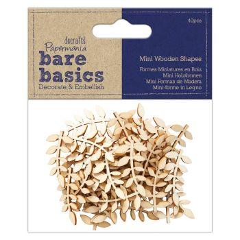Papermania Bare Basics Wooden Shapes Vine Leaf (40pcs) (PMA 174525)