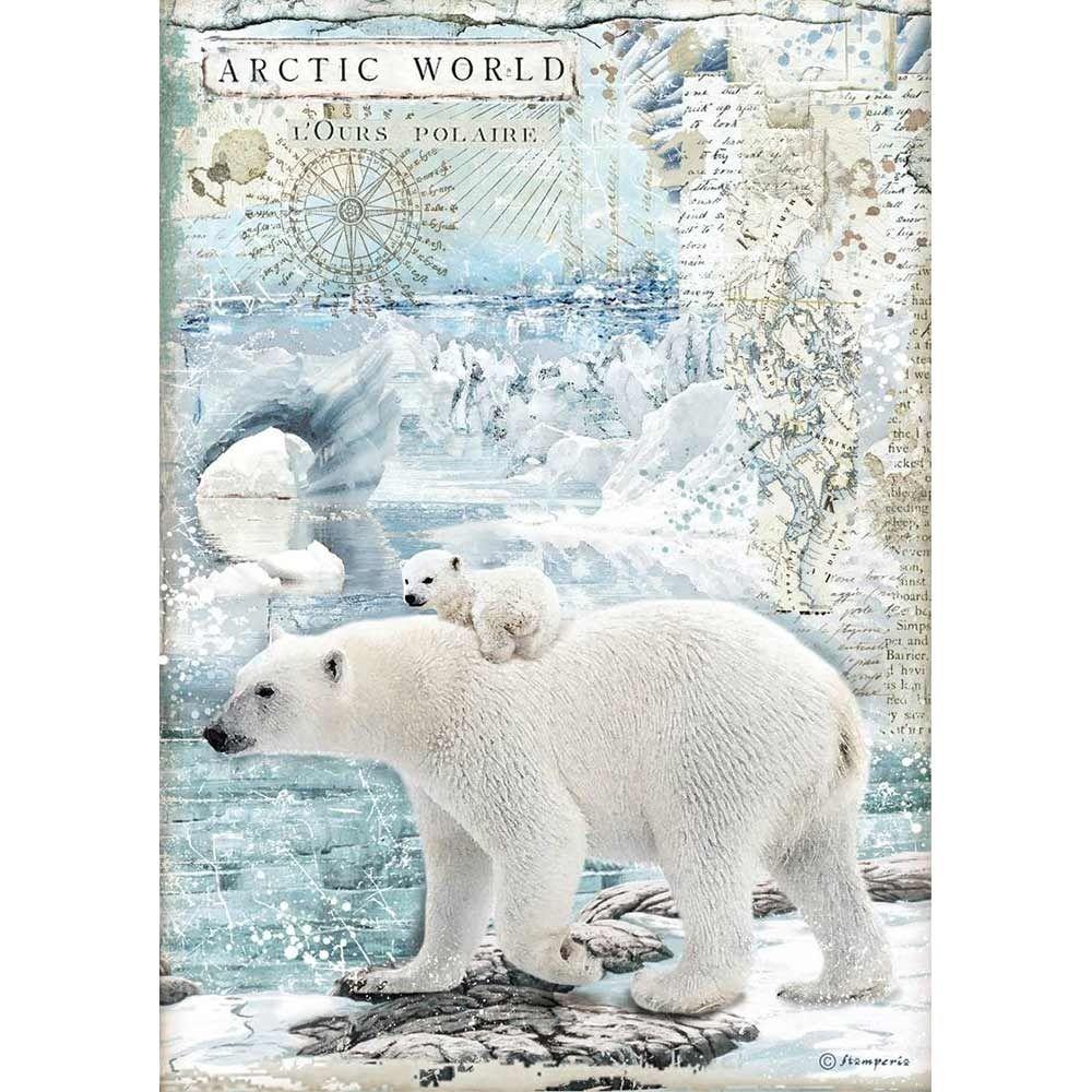 Stamperia Arctic Antarctic A4  Polar Bear Rice Paper (DFSA4478)