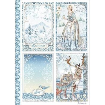 Stamperia Winter Tails  Cards A4  Rice Paper (DFSA4490)